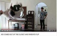 youtube video, kid comes out of the closet and parents flip