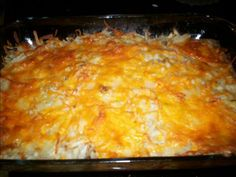 "Cracker Barrel's Hash Browns Casserole -Copycat  Ingredients:  1 (32 ounce) bag oreida potato shreds hash browns (they only make one size) 1 onion, chopped or diced 1 (10 1/2 ounce) can cream of mushroom soup 1 (10 1/2 ounce) can cream of celery soup 3 tablespoons margarine 1/2 lb colby cheese, grated  Directions:  Preheat oven to 350*F.  Mix potatoes, onion, celery and mushroom soups, and 1/2 of the cheese.  Coat a 9"" x 13"" baking dish with spray oil.  Spread mixture into dish.  Sprinkle…"