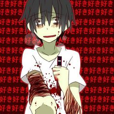 Bloody anime boy self harm