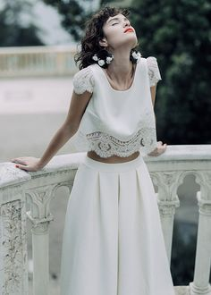 The Laure de Sagazan 2020 Collection has just landed & stunning, combining modern lace & embroidery on beautiful gowns and playful but equally sassy bridal separates. 2 Piece Wedding Dress, Wedding Dress Sleeves, Boho Wedding Dress, Wedding Dress Crop Top, Civil Wedding Dresses, Bridal Dresses, Wedding Gowns, Bridal Tops, Bridal Separates