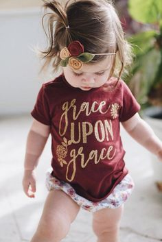 Our Grace Upon Grace design, now in Fall colors! This scripture tee can be worn at any time of year, but the burgundy and gold combo is perfect for your toddlers Fall wardrobe. Default design color is gold GLITTER. Please leave a note if you would prefer just solid gold. [please note: 6M-18M tees are a slightly paler shade of maroon. Thats just the way the shirts are from the supplier.] Thanks for shopping with Sweet Peony! Please let me know if you have any questions! ……………………………………………...
