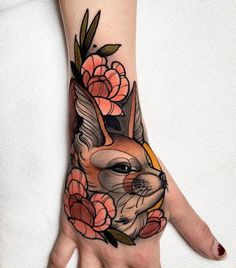Fennec Fox on Alayssa s hand Thank you so much again - Done with worldfamousink tattoofixcare at Body Art Tattoos, Hand Tattoos, Cool Tattoos, Tattoo Ink, Octopus Tattoos, Tree Tattoos, Deer Tattoo, Tattoo Forearm, Raven Tattoo