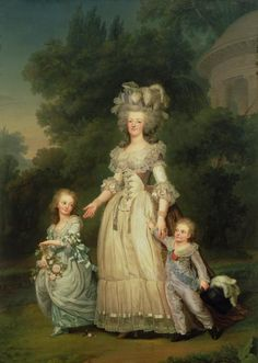 Queen Marie Antoinette of France with her children Princess Marie Therese Charlotte and Dauphin Louis Joseph | Adolf Ulrik Wertmüller | 1785 | painted in the Petit Trianon's gardens