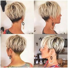 100 Mind-Blowing Short Hairstyles for Fine Hair Black and Blonde Pixie with V-Cut Nape Short Layered Haircuts, Haircuts For Fine Hair, Cute Hairstyles For Short Hair, Fine Hairstyles, Popular Short Hairstyles, School Hairstyles, Celebrity Short Haircuts, Short Wedge Hairstyles, Stacked Haircuts