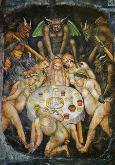 Taddeo di Bartolo - The Last Judgment  (detail of gluttony) c.1394