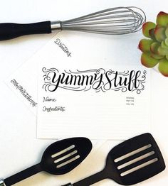 Yummy Stuff Hand Lettered Recipe Cards, 20-Pack by How Joyful on Scoutmob Shoppe