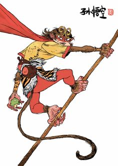 Journey to the West on Behance Character Concept, Character Art, Concept Art, Character Design, Character Sketches, Akira, Martial, Cartoon Monkey, Color Script