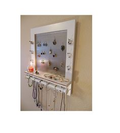This is a listing for a beautiful white painted, wooden jewelry organizer. This is a One of a kind, jewelry organizer rack. It is painted with Jewelry Wall, Jewelry Organizer Wall, Wall Organization, Wooden Jewelry, Jewelry Organization, Jewelry Box, Vintage Marketplace, Wall Hanger
