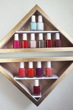Make Your Own Nail Polish Shelves - if only i had this few nail polish bottles. this is so cute but i'd have to super-size it.