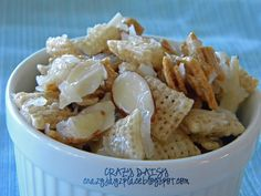 Coconut almond chex mix. YUM! Make this but leave out the gram cracker cereal  to make it GF