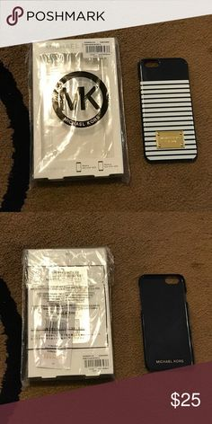 MK iPhone6 case Michael Kors striped navy & white iPhone6 hard plastic case. Great condition. Never used!! MICHAEL Michael Kors Accessories Phone Cases