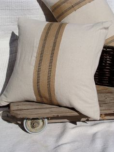 """rustic pillow cover- oatmeal with burlap stripe - 18"""" x 18"""". $22.00, via Etsy."""