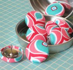 Pink Flamingo. . . Tack Pack of 8. Fabric Push Pins. $7.50, via Etsy.