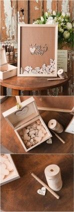 Rustic Laser Cut Wood Wedding Guest Book- Best day ever