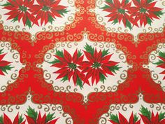Vintage Christmas Gift Wrapping Paper Red by TheGOOSEandTheHOUND