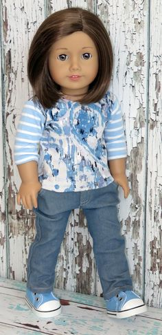 "Trendy 18"" American Girl Doll Clothes from Silly Monkey - Blue Mixed-Print Knit Top and Jeans, $15.99 (http://www.silly-monkey.com/products/blue-mixed-print-knit-top-and-jeans.html)"