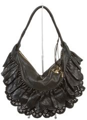 Christian Dior Black Leather Perforated Ruffle Hobo Handbag