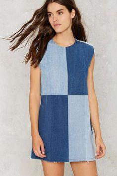 655e6b84bf55d После партии Винтаж патч мой дрейф Джинсовое платье - новые возможности  Denim Fashion