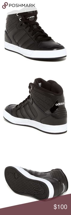 """adidas // high-top kicks NIB Adidas hi top sneakers with leopard embossed back panel. Leather upper and lower, lightly padded insole. 1"""" platform. Elevate your athleisure style to the next level with the ultimate casual cool girl kicks! Wear them everywhere- I do! Adidas Shoes"""