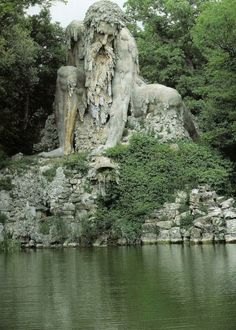 Colossus of the apennines by Italian sculptor giambologna (1529-1608) in the park villa demidoff near Florence, Italy.  Image via http://buffalo-divine-eden-no7.tumblr.com/archive