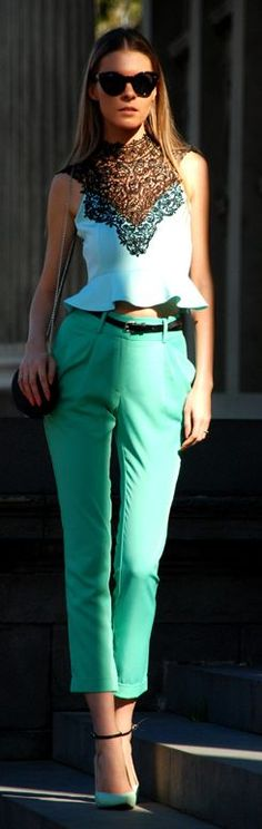 Mint And Black Chic Style