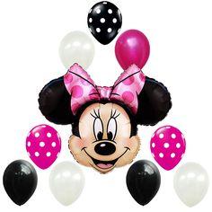 Birthday Party Decorations Minnie Mouse Pink Black White Polka dots Foil balloon #Disney #BirthdayChild