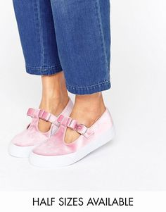 Buy it now. ASOS DEBBIE Velvet Bow Trainers - Pink. Trainers by ASOS Collection Velvet upper Slip-on design T-bar and bow strap Pin buckle fastening Chunky sole Textured tread Wipe marks with a soft cloth 100% Textile Upper , deportivas, sport, deporte, deportivo, fitness, deportivos, deportiva, deporte, courtvantage, stansmith, superstar, tubularviral, zx700, sueladentada, furylite, matrix, zxflux, mood, missstan, trainers, sporty, plimsoll. Hot pink Asos  basic sneakers  for woman.