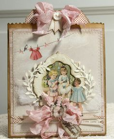 Shabby Vintage Style Card...with ribbon & buttons...MG_7189-001t.