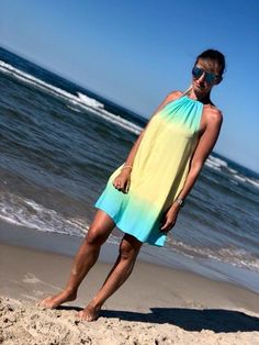 The boho mini rainbow yellow dress is a beautiful, eye-catching woman dress made of the highest quality viscose and Perfect for summer. Yellow Dress, Beautiful Eyes, Dress Making, Outdoor Gardens, Cover Up, Rainbow, Woman, Boho Dress, Mini