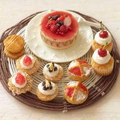 ドールハウス☆ミニチュア☆いちごのフレジェのケーキセット☆