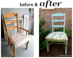 #Makeover {Chair-no arms}, Love the finish and the fabric.