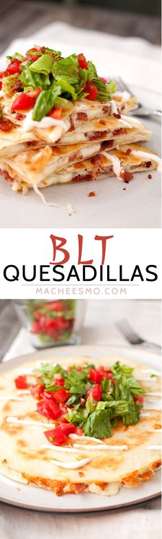 Quesadillas BLT Quesadillas: Simple quesadillas filled with crispy bacon and spicy pepper jack cheese and topped with a light and fresh tomato salad! Mexican Dishes, Mexican Food Recipes, Dinner Recipes, Tostadas, Quesadilla Recipes, Healthy Quesadilla, Breakfast Quesadilla, Chicken Quesadillas, Recipes