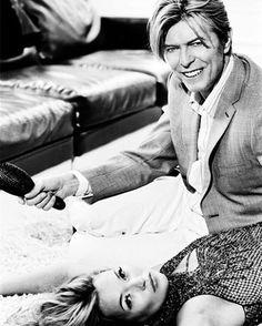 David and Kate Moss photographed by Ellen von Unwerth, 2003. {#davidbowie #bowie #davidrobertjones #katemoss #00s #2003}