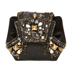 RENE CAOVILLA Satin & Swarovski Clutch ($848) ❤ liked on Polyvore featuring bags, handbags, clutches, purses, bolsas, black, embroidered handbags, embroidered purses, chain handle handbags and satin handbags