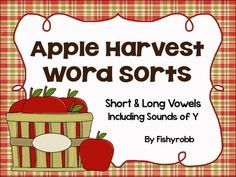 Apple-themed word sorting center with long and short vowels plus sounds of Y