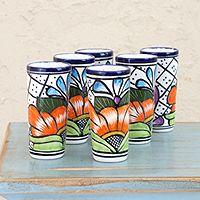 Talavera ceramic shot glasses, 'Guanajuato Flora' (set of 4), by Mexico's Pedro Alba