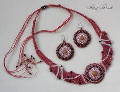 Mandala jewelry set Macrame necklace macrame by MatthiolaBeads