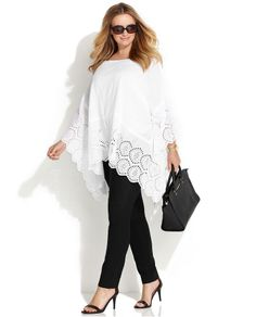 MICHAEL Michael Kors Plus Size Flutter-Sleeve Eyelet Poncho