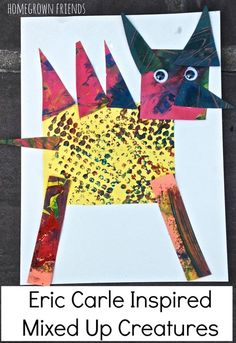Such a fun way to explore Leo Lionni's Mixed Up Chameleon by making Eric Carle Inspired Mixed Up Creatures from Homegrown Friends