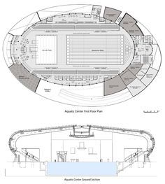 i like this as it shows a birds eye view and a side view. Stadium Architecture, University Architecture, Architecture Plan, Architecture Details, Swimming Pool Plan, Olympic Swimming, Swimming Pool Designs, Architectural Engineering, Architectural Section