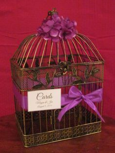 "Romantic #BirdcageWeddingCardHolder with purple hydrangeas. Card boxes are all the rage, decorate your gift table with a birdcage wedding card holder. Wonderful keepsake for your home after the wedding. These birdcages all come with a hook for easy hanging or can sit on a table. Cardholders aren't just for weddings! Use your birdcage for any special event including bridal/baby showers, anniversary parties, sweet sixteens, etc! Dimensions: 17"" tall x 11.5"" wide x 8.5"" deepAll birdcage card…"