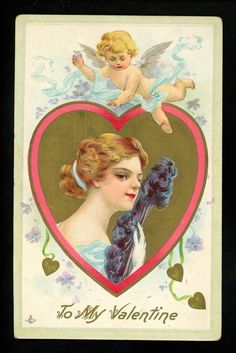 Vintage Cards, Vintage Paper, Victorian Valentines, Heart Illustration, Cupid, Valentines Day, Disney Characters, Fictional Characters, Images