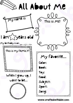 All About Me Poster, All About Me Book, All About Me Project, About Me Page, Preschool Worksheets, Preschool Activities, Worksheets For Preschoolers, 1st Grade Activities, Teacher Worksheets