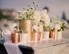 Diy Wedding Decorations Outdoor Center Pieces Bridal Shower New Ideas Tin Can Centerpieces, Centerpiece Ideas, Centerpiece Flowers, Table Flowers, Diy Flowers, Vintage Flowers, Flower Arrangements, Wedding Flowers, Deco Champetre