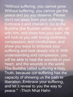 I began to read this quote, I knew the voice behind the words.  It made me smile when I looked down to see that yes, Thich Nhat Hahn was speeking to me.