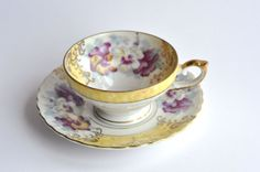 Antique 'Old Gold M' Hand Painted Tea Cup and Saucer -Made in Japan