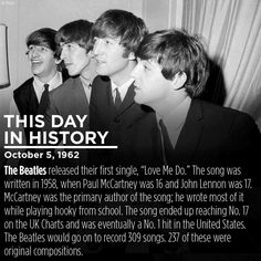 The Beatles - This Day in History Beatles Funny, Les Beatles, Beatles Art, Pop Rock Music, Love Me Do, She Loves You, Recorder Music, The Fab Four, Ringo Starr