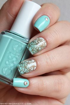 Essie 'blossom-Dandy' and stamping over OPI 'My Boyfriend Scales Walls' with Born Pretty plate BP L017 ~ by Mary Monkett