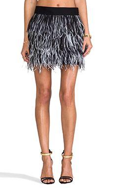 de484ca29e2 MILLY Cocktail Ostrich Fringe Skirt in Black   White