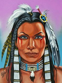 Good Heart'd Woman by Riel Benn(award winning artist from the Birdtail Sioux First Nation,Southwestern Manitoba) Native American Drawing, Native American Paintings, Native American Pictures, Native American Beauty, Native American Artists, Native American Indians, American Indian Girl, Indian Artwork, Maquillage Halloween